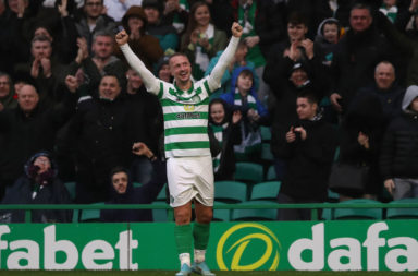 Leigh Griffiths celebrates his hat-trick