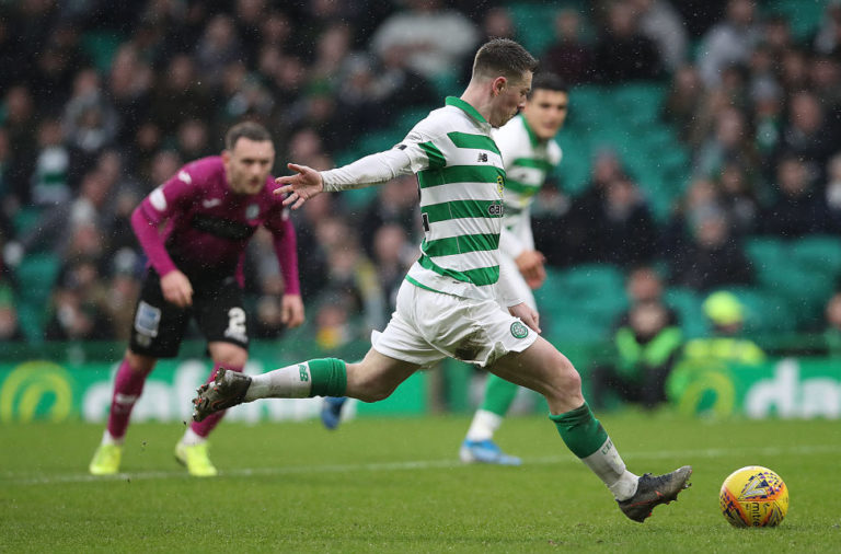 Callum McGregor takes his penalty against St Mirren