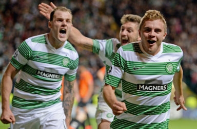 James Forrest celebrates his winning goal against Shakhter Karagandy