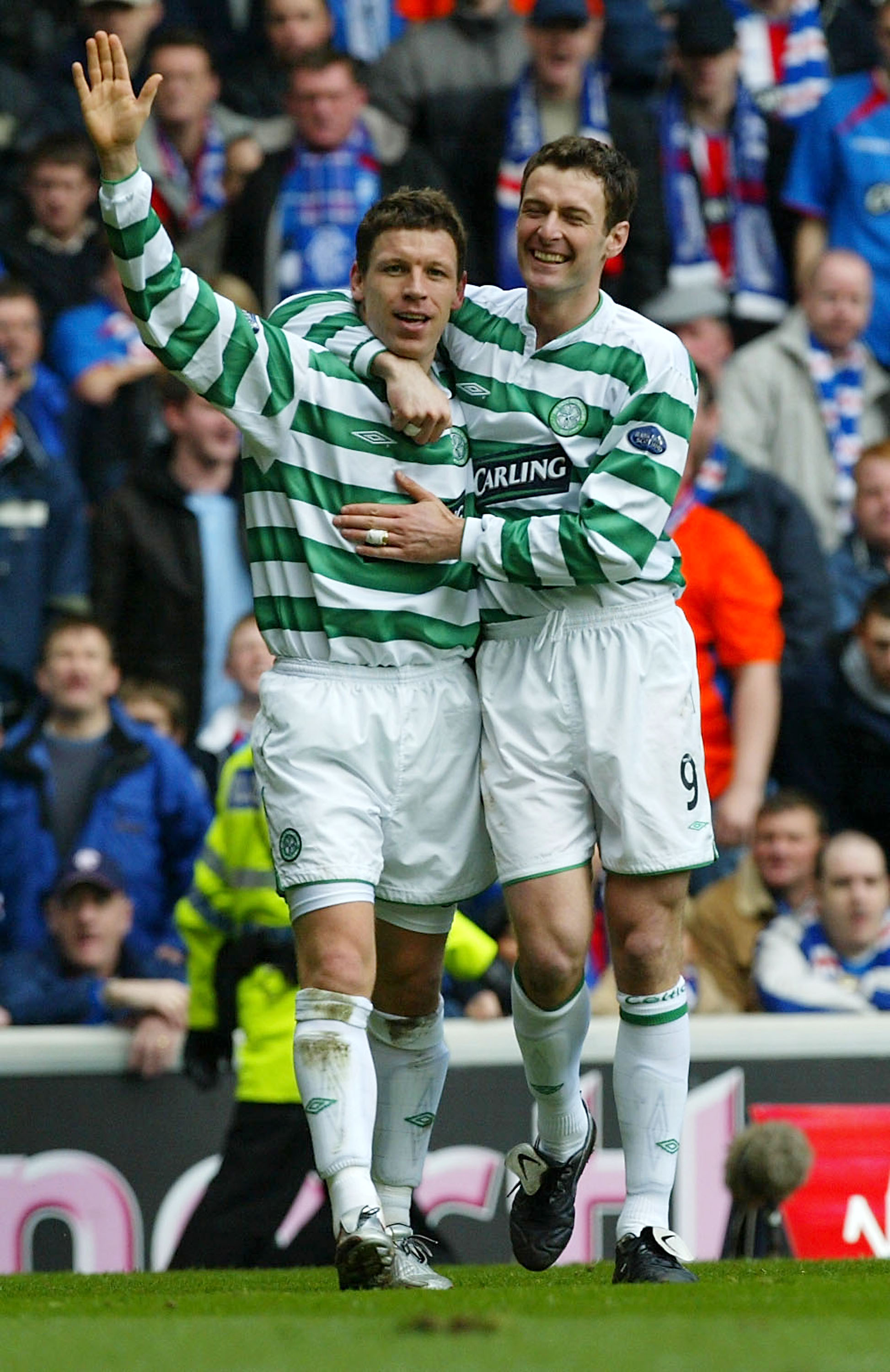 Thompson and Sutton celebrate Celtic's second goal