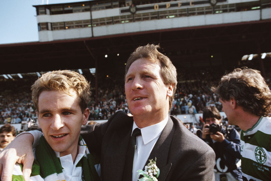 Billy McNeill and Chris Morris after Celtic completed the centenary double