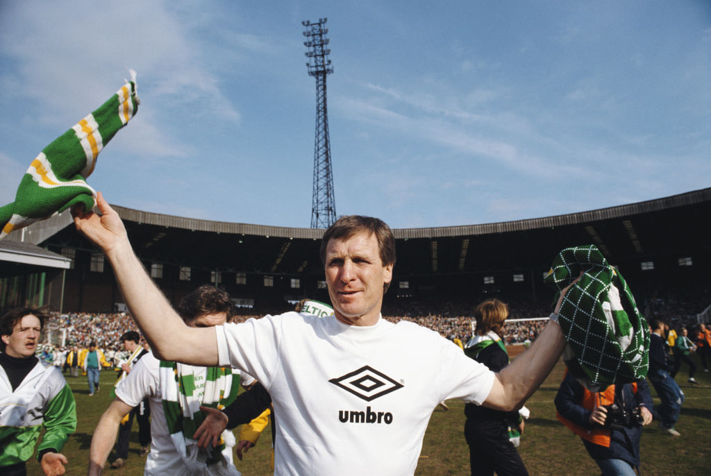 Celtic manager Billy McNeill celebrates Celtic's title win in 1988