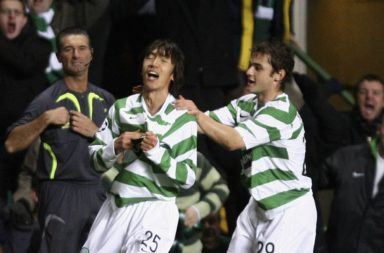 Nakamura after netting the famous goal