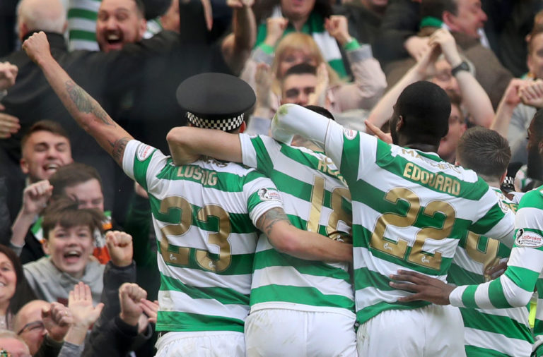 Mikael Lustig celebrates wearing a policeman's hat