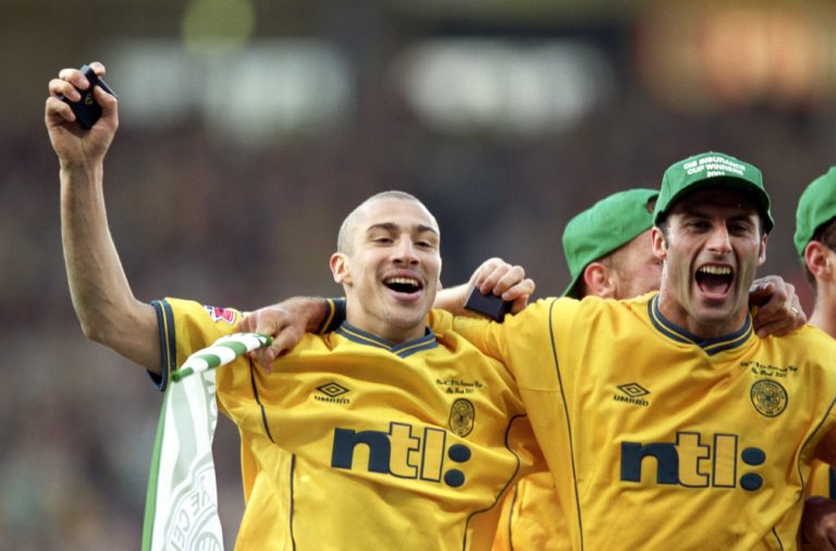 Celtic legend Henrik Larsson with teammate Ramon Vega