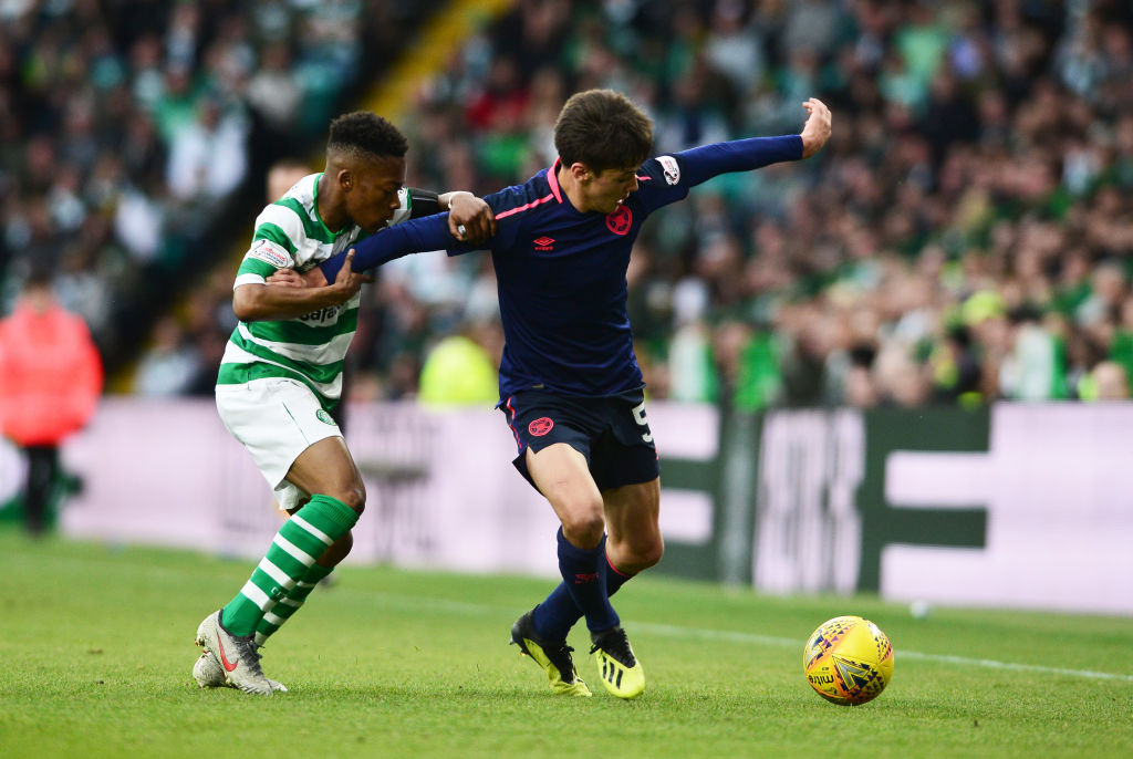 Hearts youngster Aaron Hickey in action against Celtic