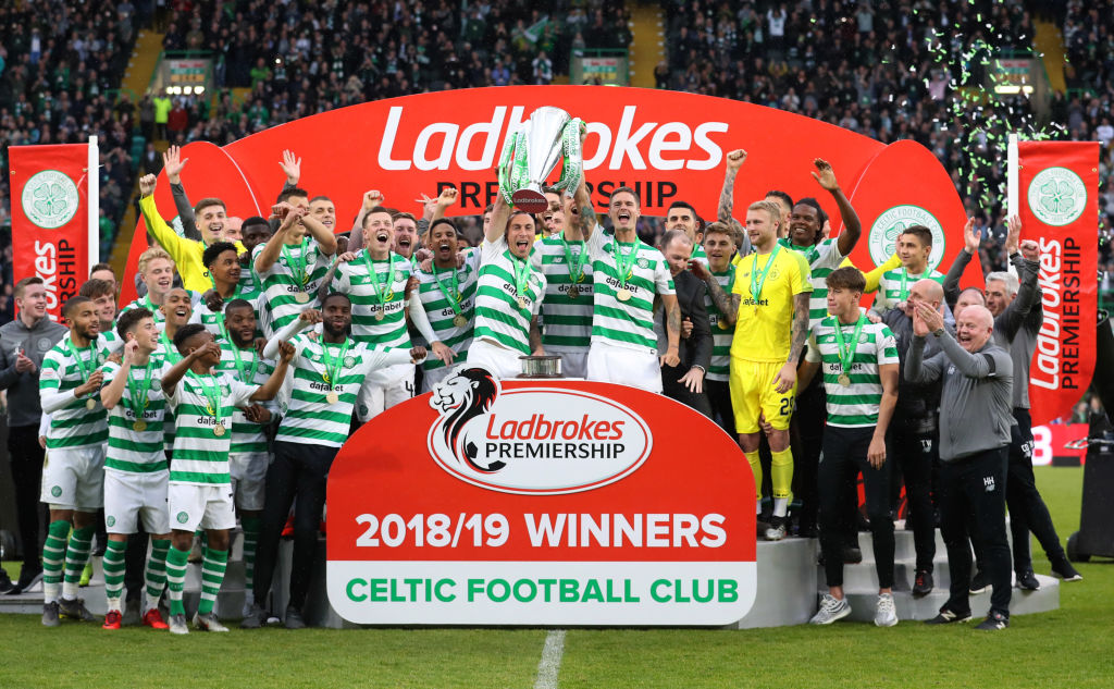 Celtic celebrating last season's title win