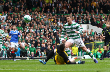 Kris Commons scoring for Celtic vs Rangers