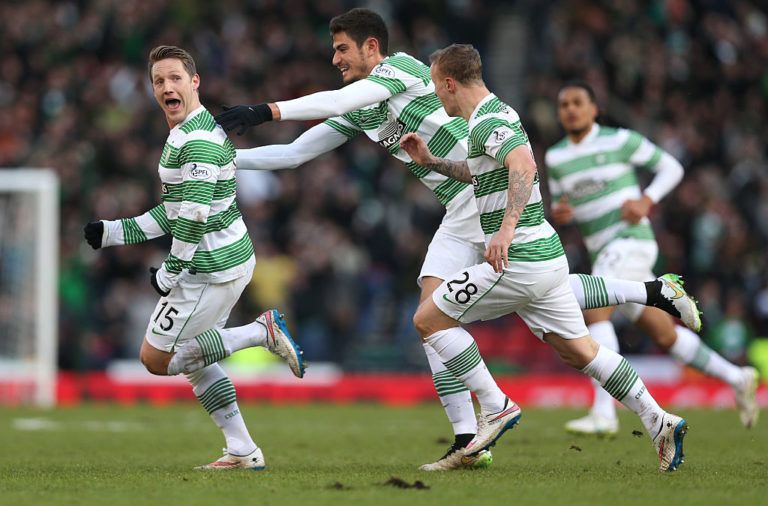 Kris Commons celebrates scoring for Celtic vs Rangers