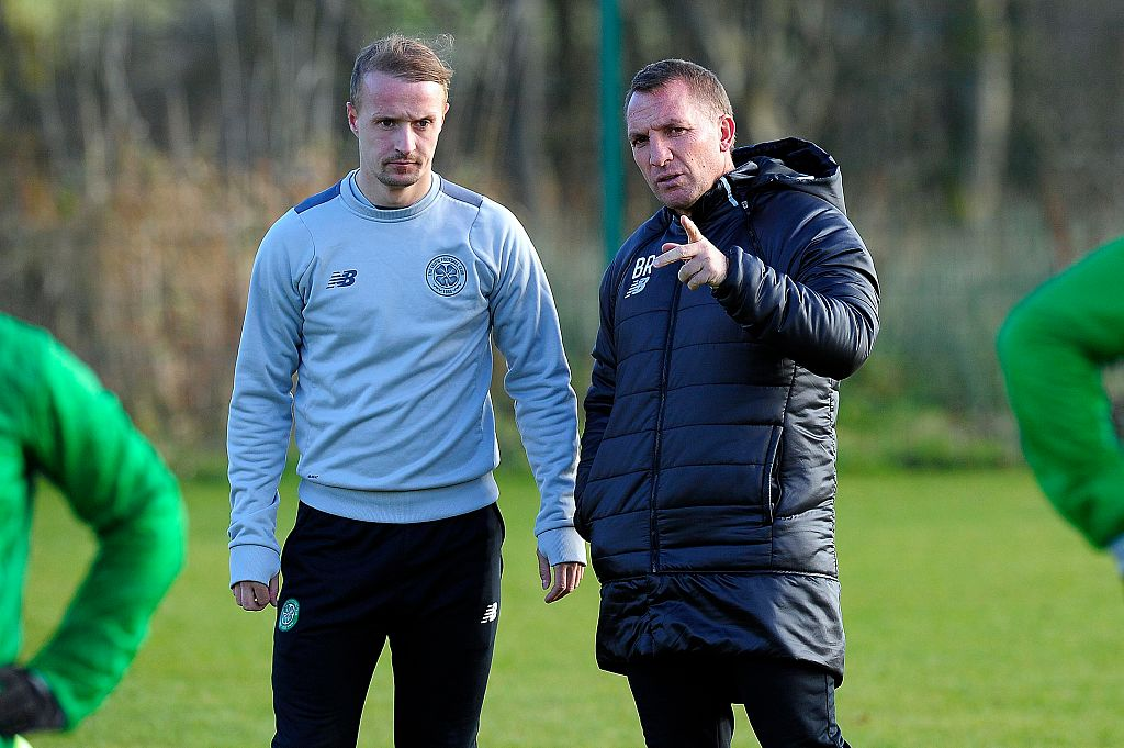 Leigh Griffiths with former Celtic manager Brendan Rodgers