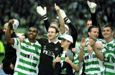 Former Celtic manager Martin O'Neill celebrates a trophy win