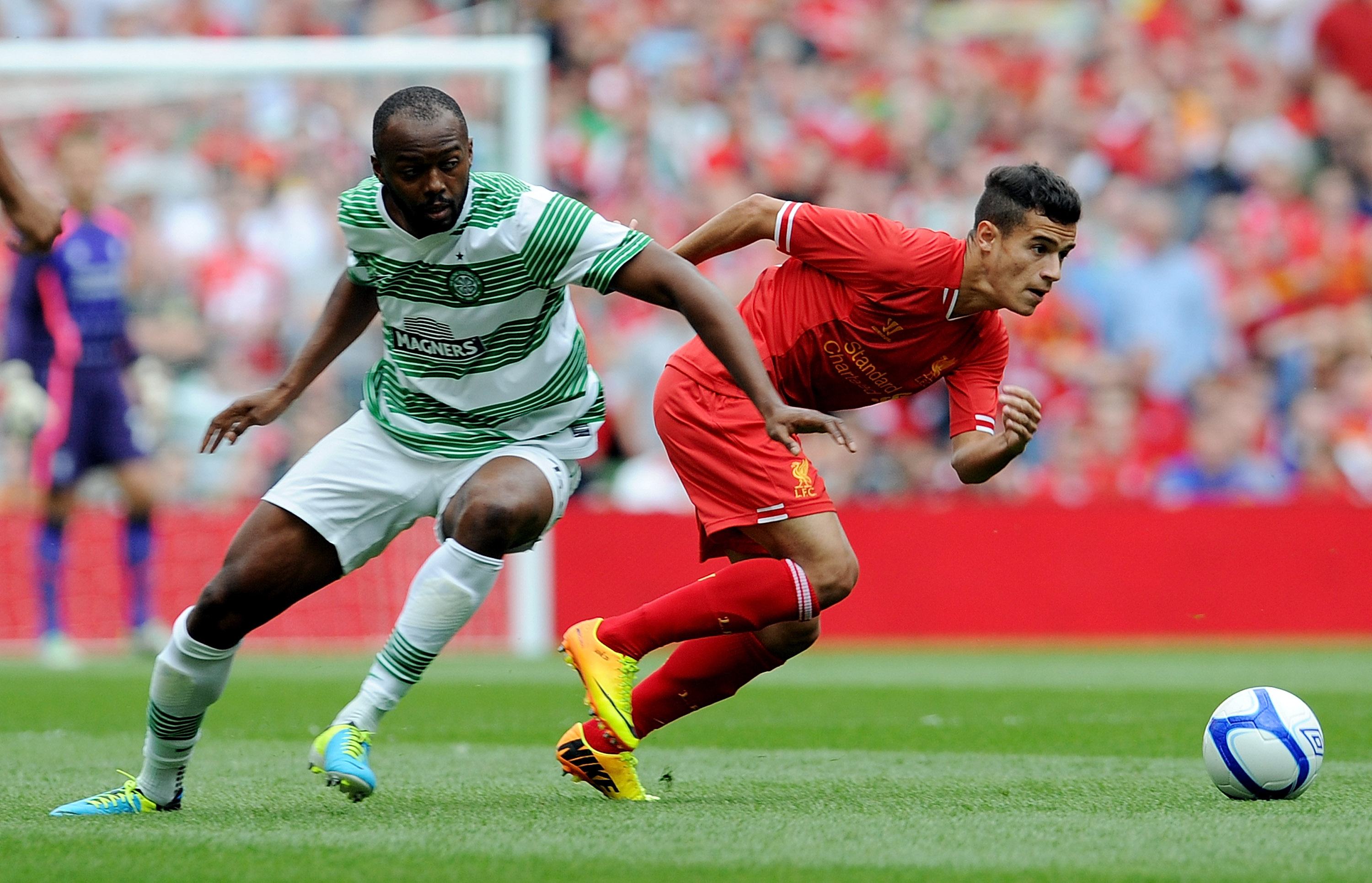 Steven Mouyokolo in action for Celtic