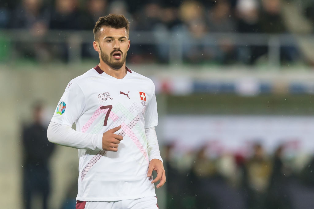 Celtic target Albian Ajeti in action for Switzerland