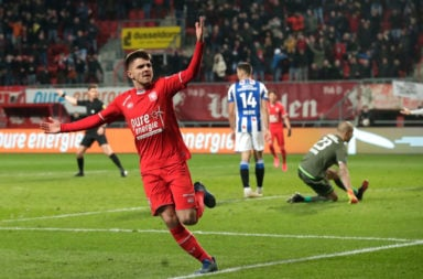 Celtic target Lindon Selahi celebrates scoring for FC Twente