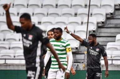 Moussa Dembele after scoring against Celtic