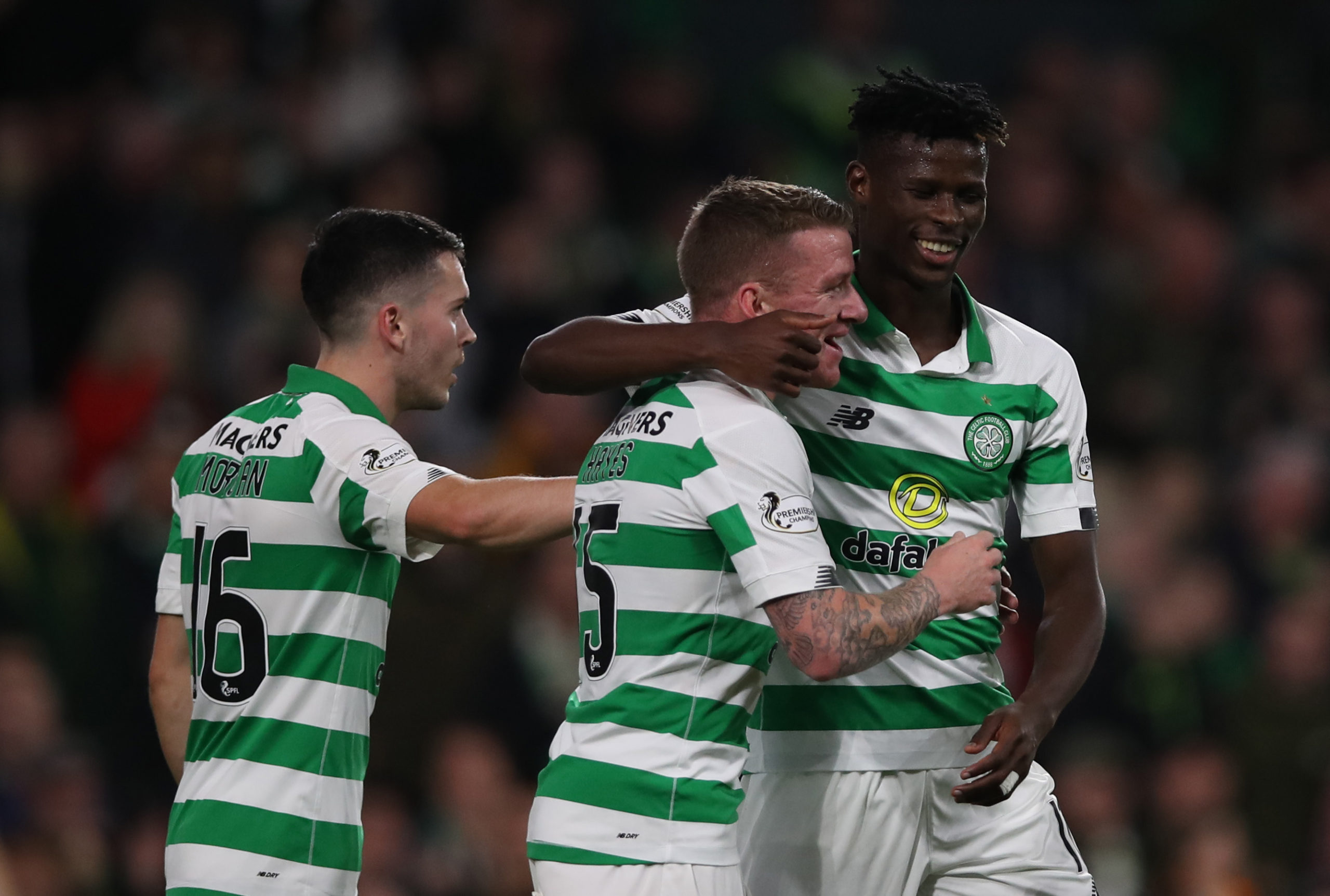 Celtic striker Vakoun Bayo celebrates a goal