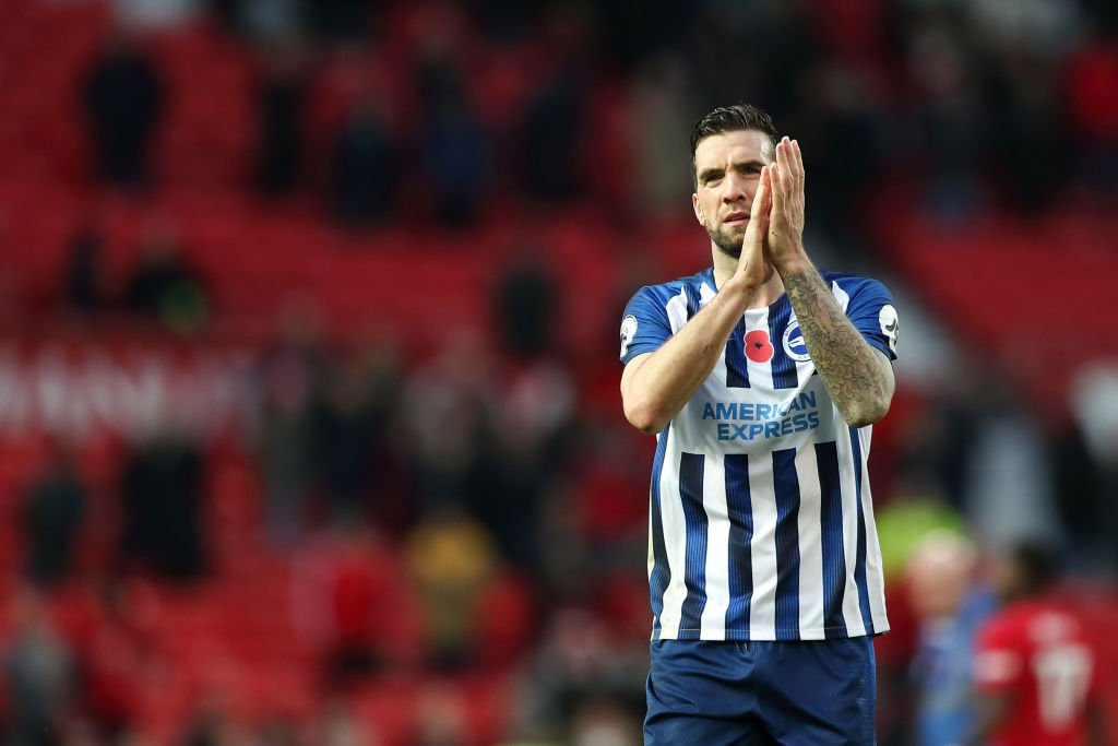 Shane Duffy applauds the Brighton support