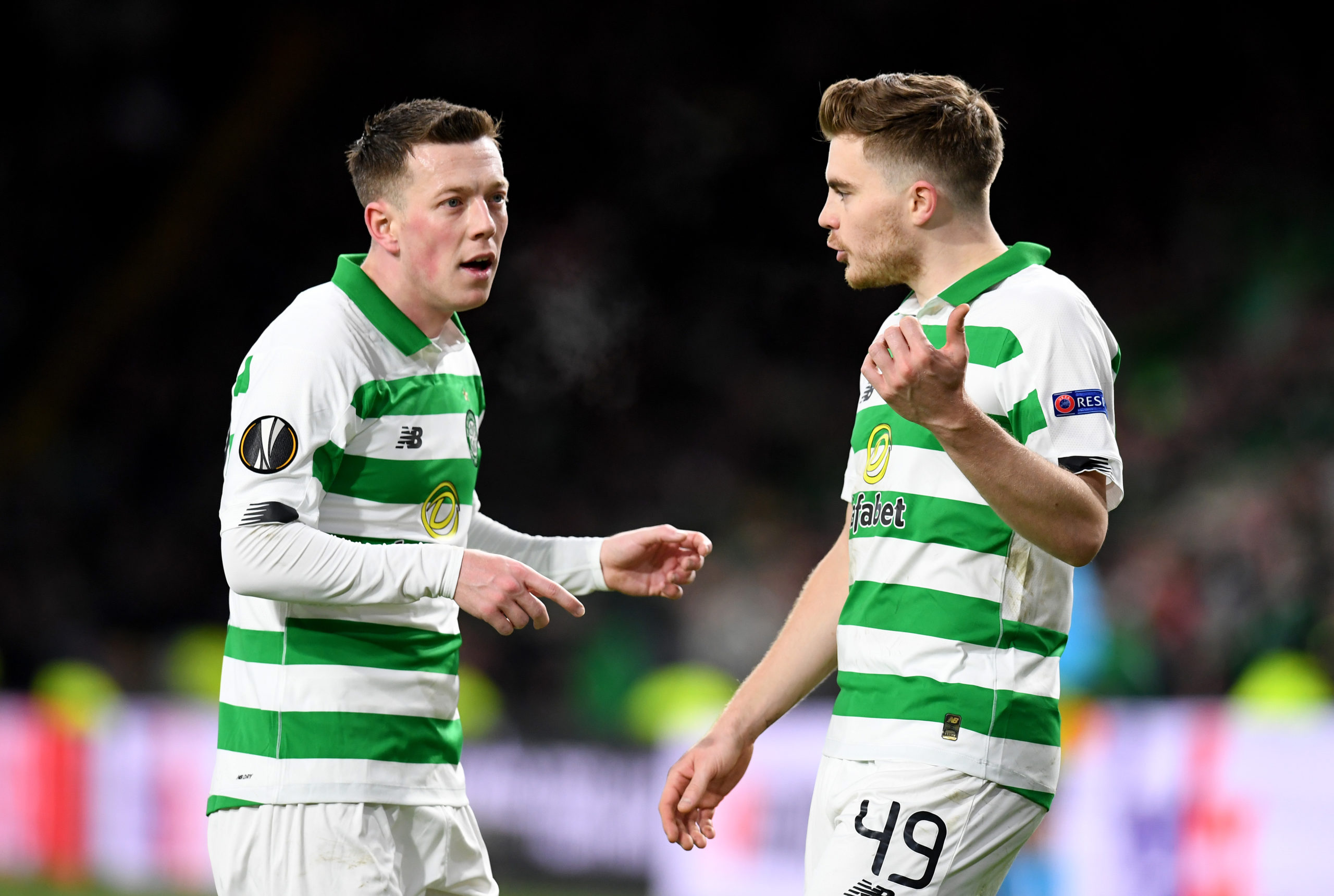 Callum McGregor and James Forrest in action for Celtic
