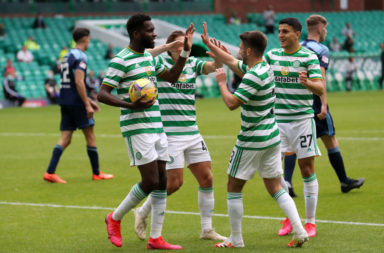 Celtic celebrate a goal against Hamilton