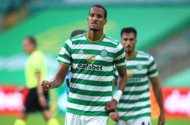 Christopher Jullien celebrates scoring for Celtic
