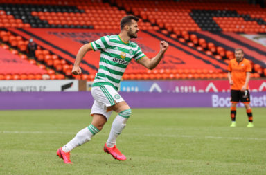Albian Ajeti celebrates scoring for Celtic
