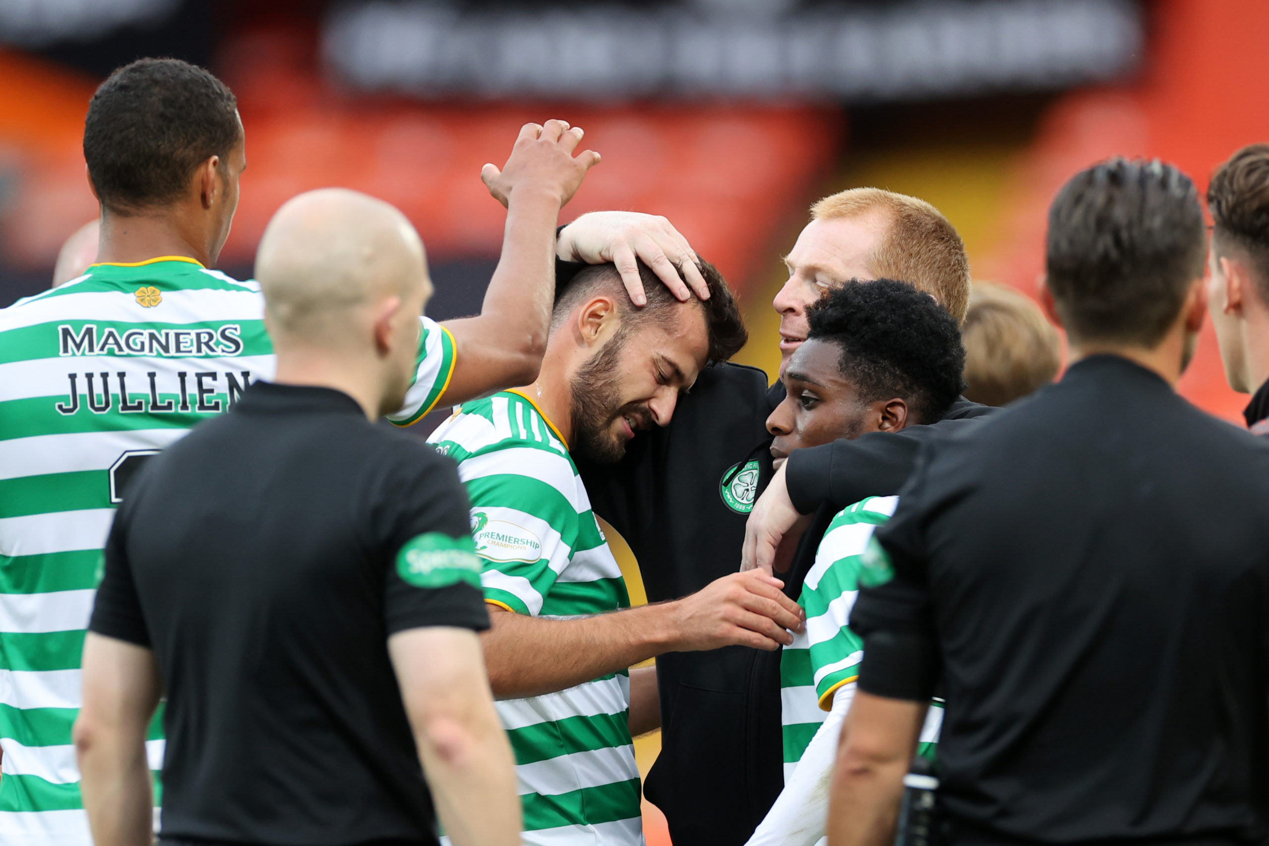 Celtic celebrate Albian Ajeti's winner against Dundee United