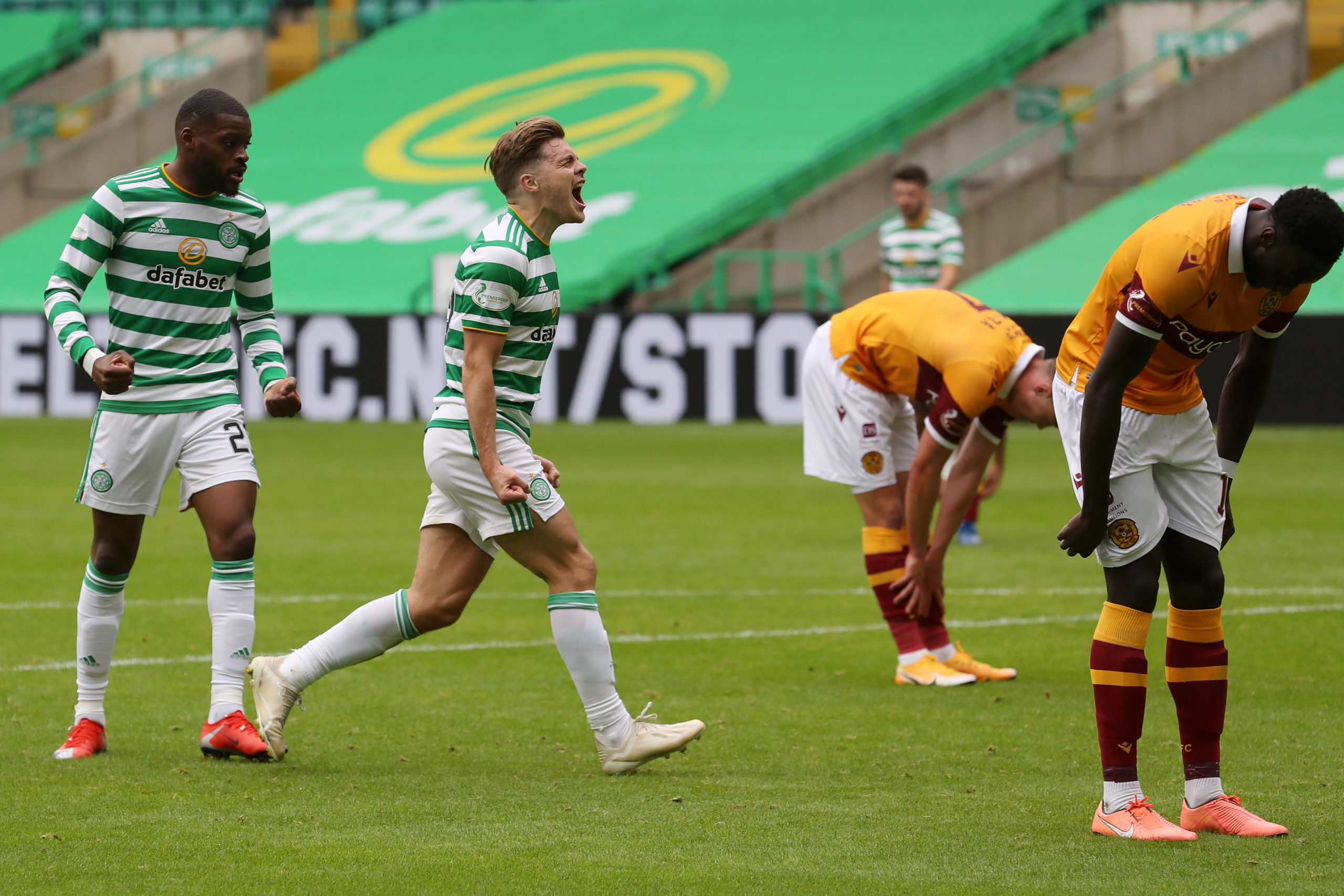James Forrest celebrates scoring for Celtic