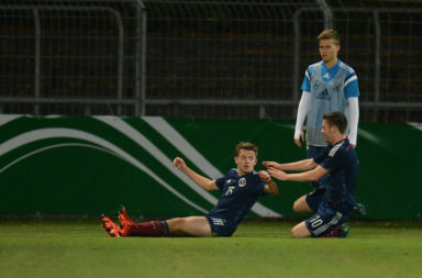 Liam Burt celebrating for Scotland under 19s