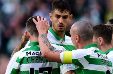 Nir Bitton celebrates a goal against Sarajevo last season