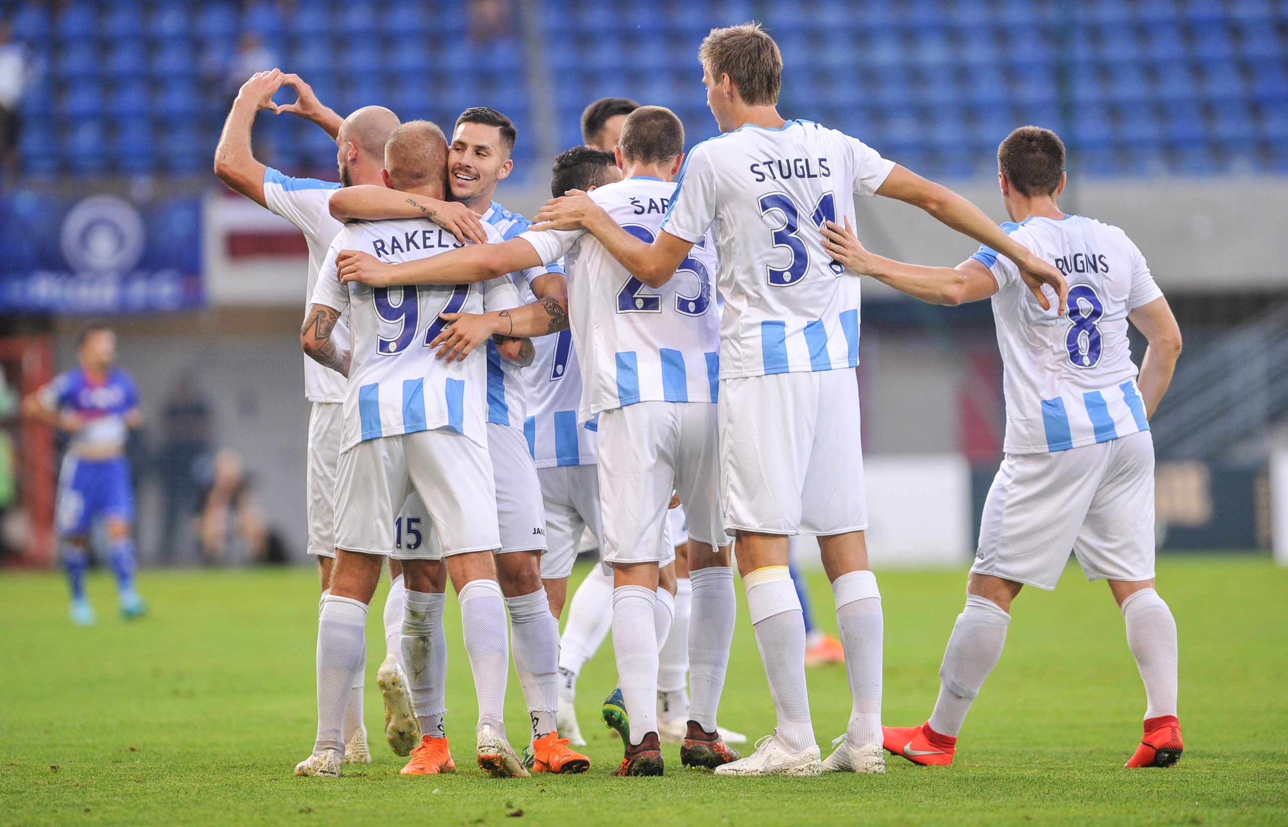 Riga FC celebrate a goal in Europe