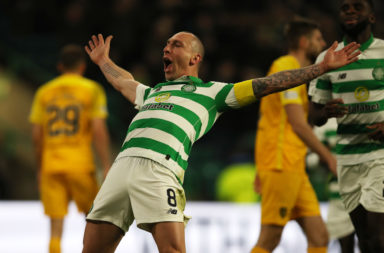 Scott Brown celebrates against Livingston last season
