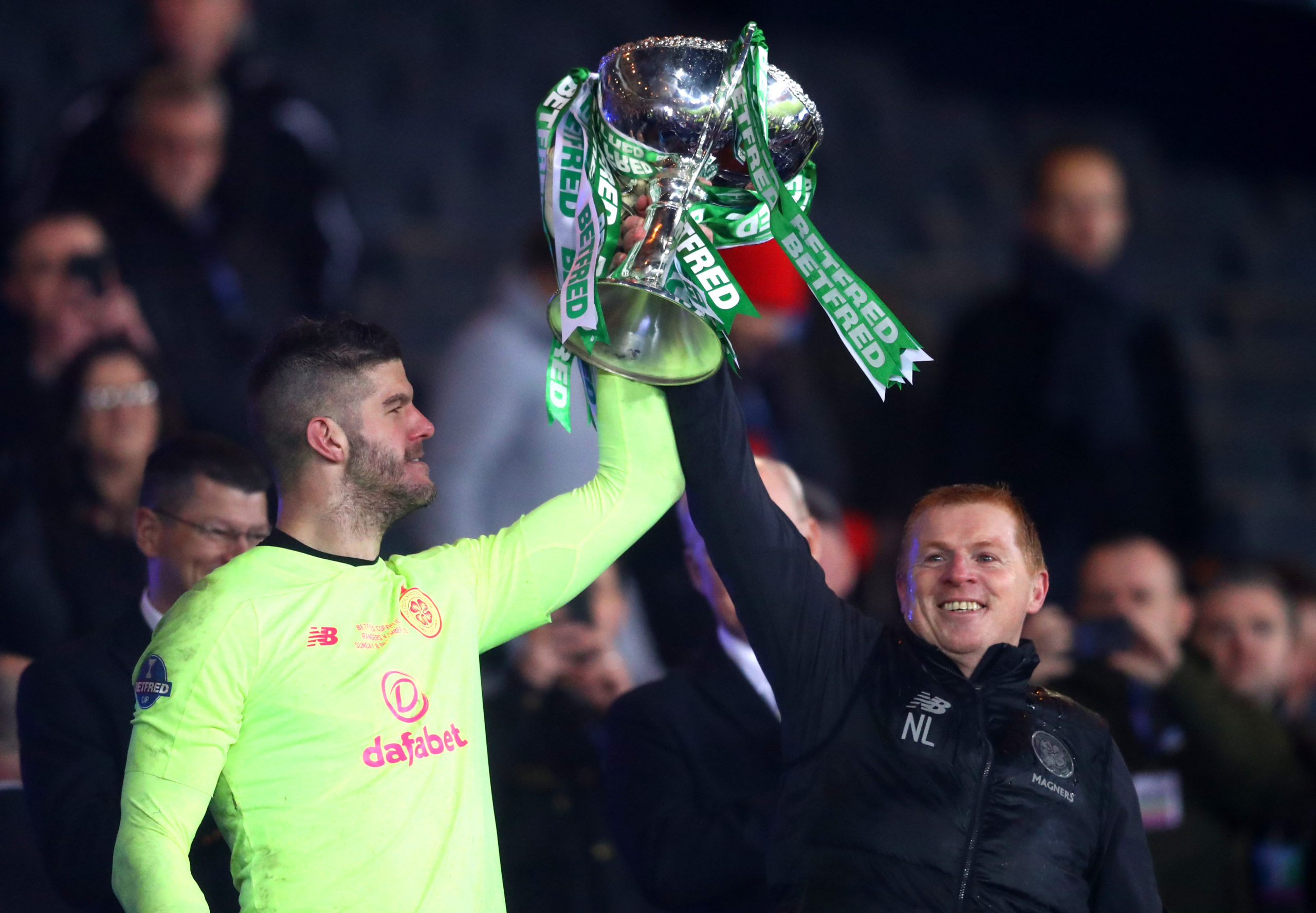 Fraser Forster and Neil Lennon with the Betfred Cup trophy