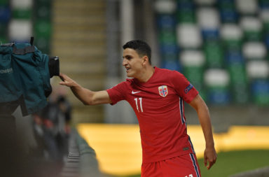 Celtic star Mohamed Elyounoussi celebrates scoring for Norway