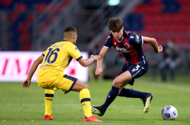 Former Celtic youngster Aaron Hickey in action for Bologna