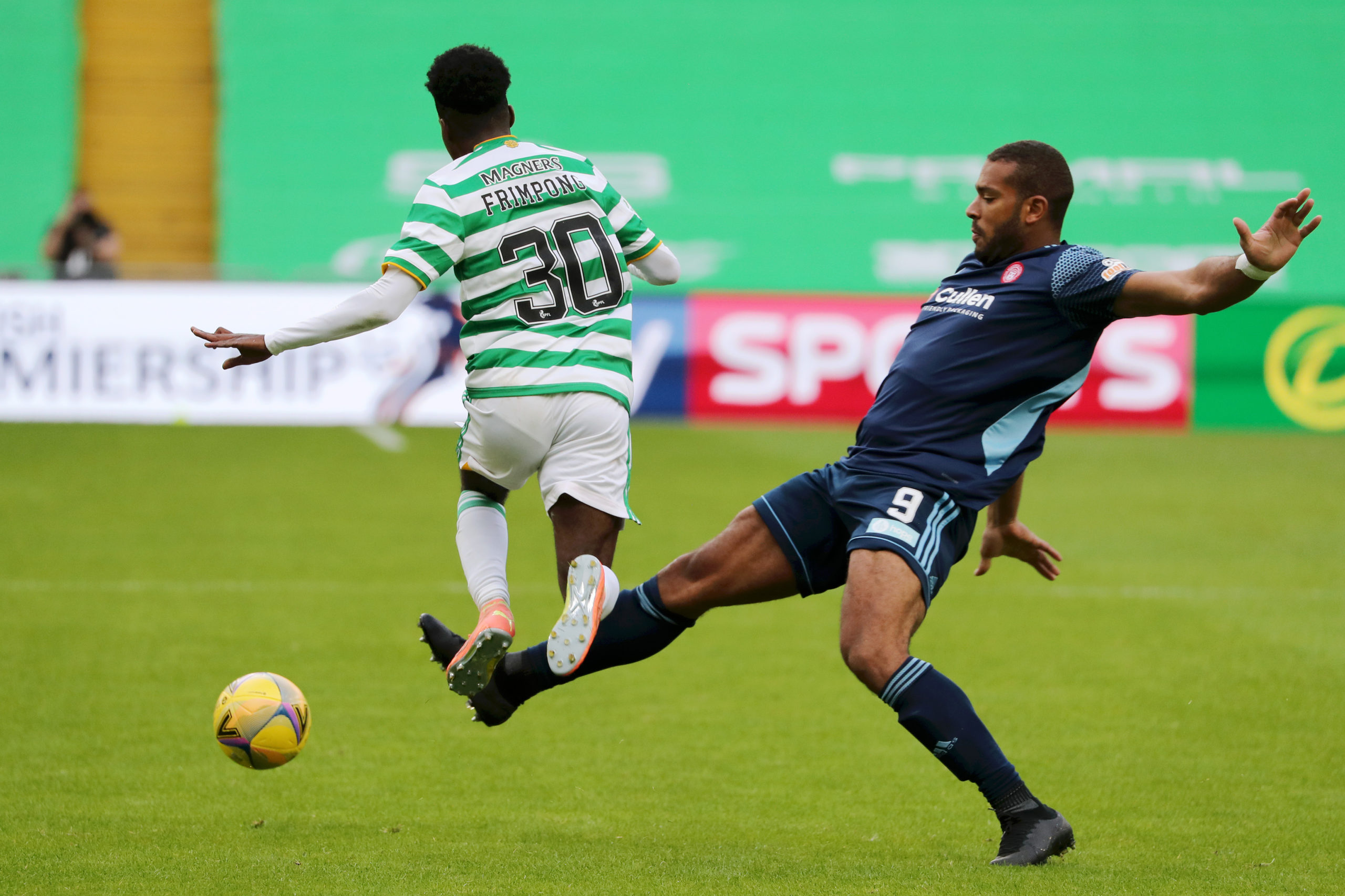 Celtic star Jeremie Frimpong is tackled