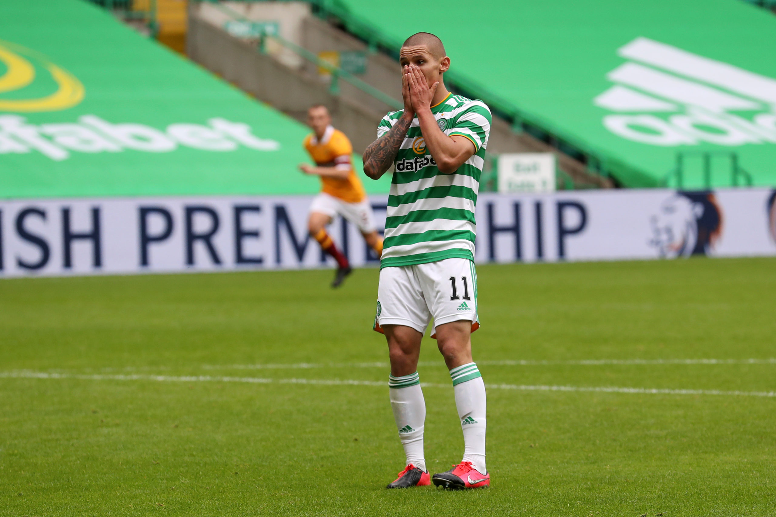 Patryk Klimala can't believe he missed a chance for Celtic
