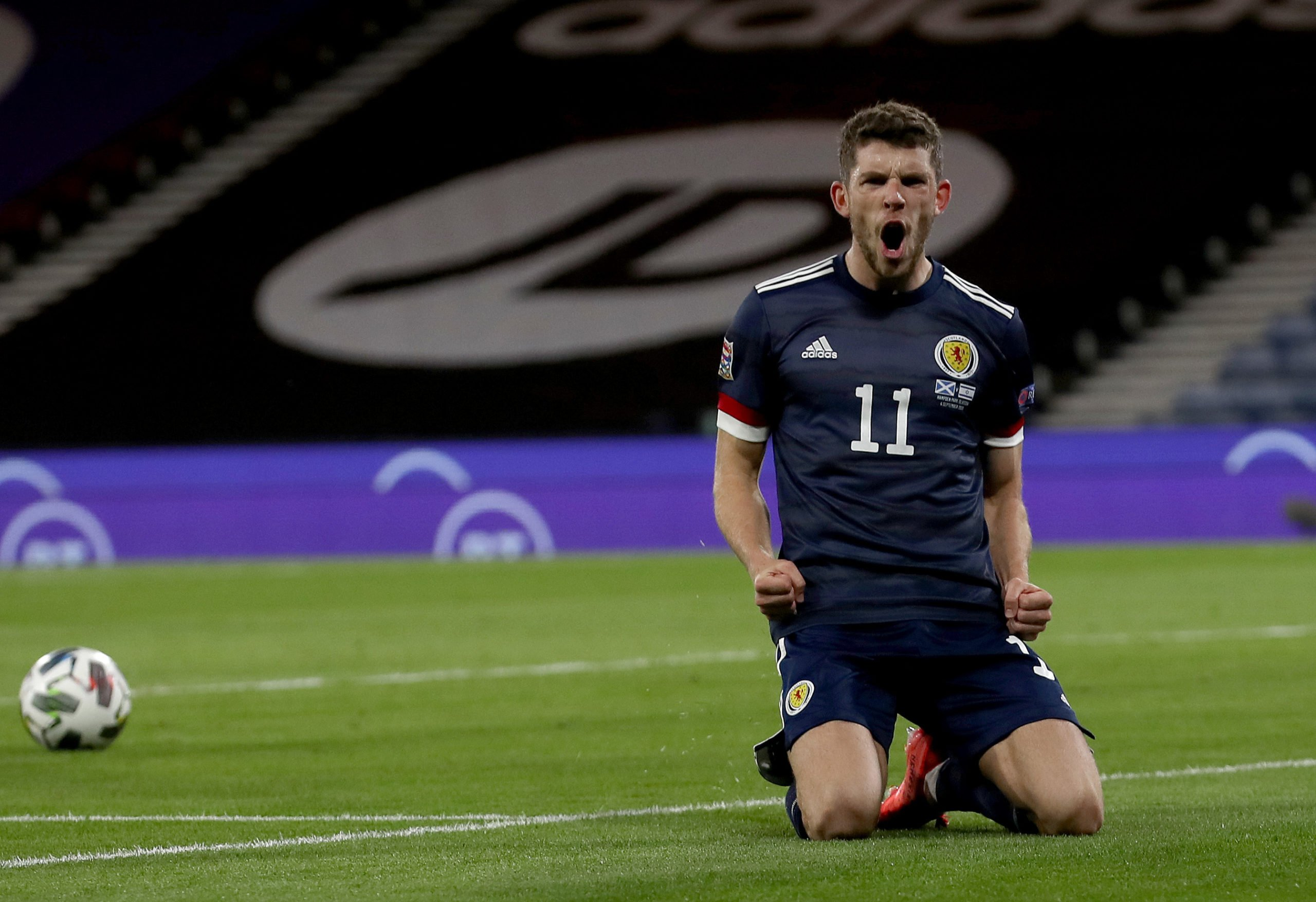 Ryan Christie celebrates with Scotland