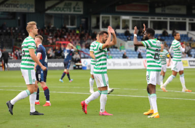 Celtic players played in front of supporters on Saturday