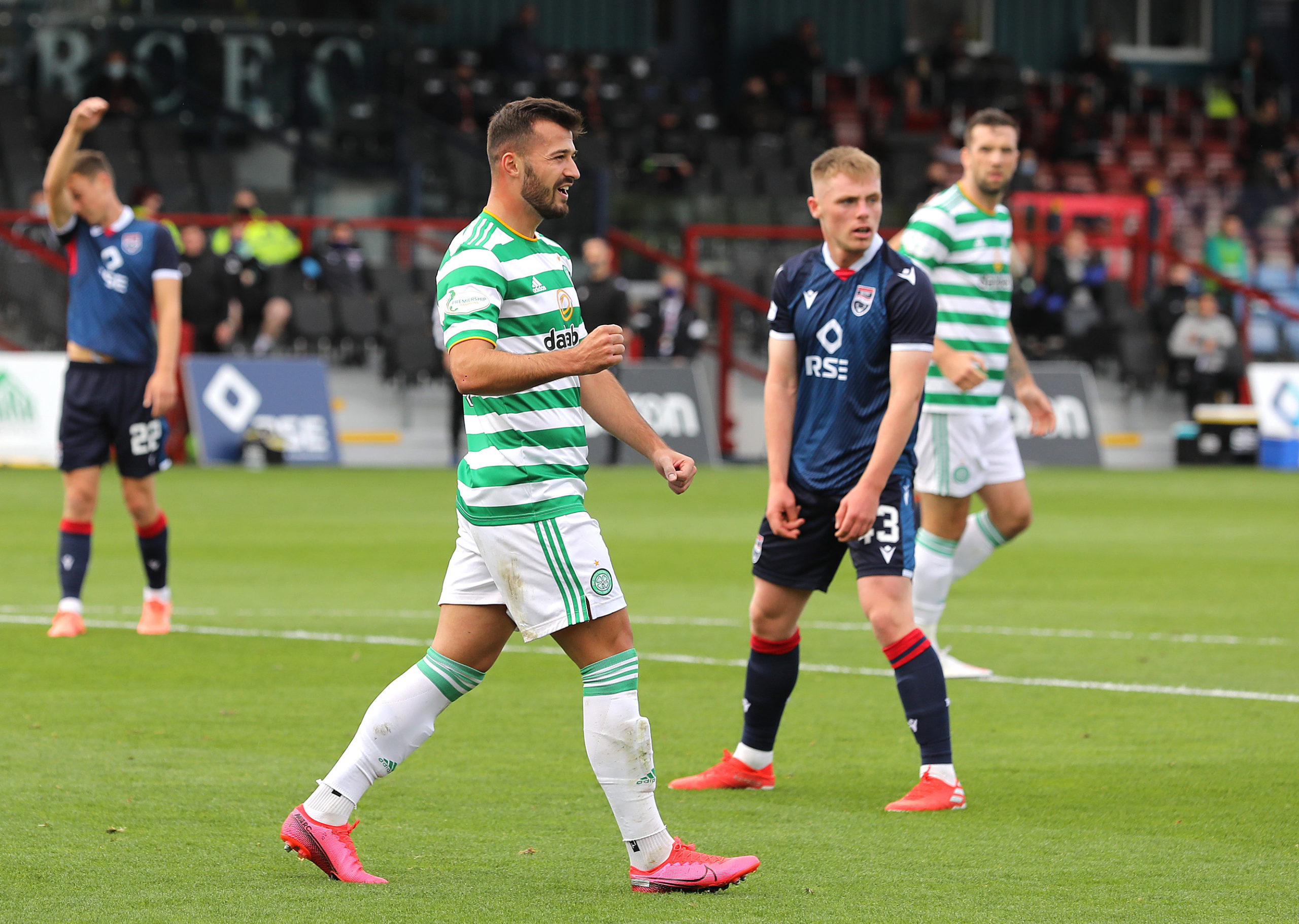 Albian Ajeti celebrates putting Celtic 2-0 up against Ross County