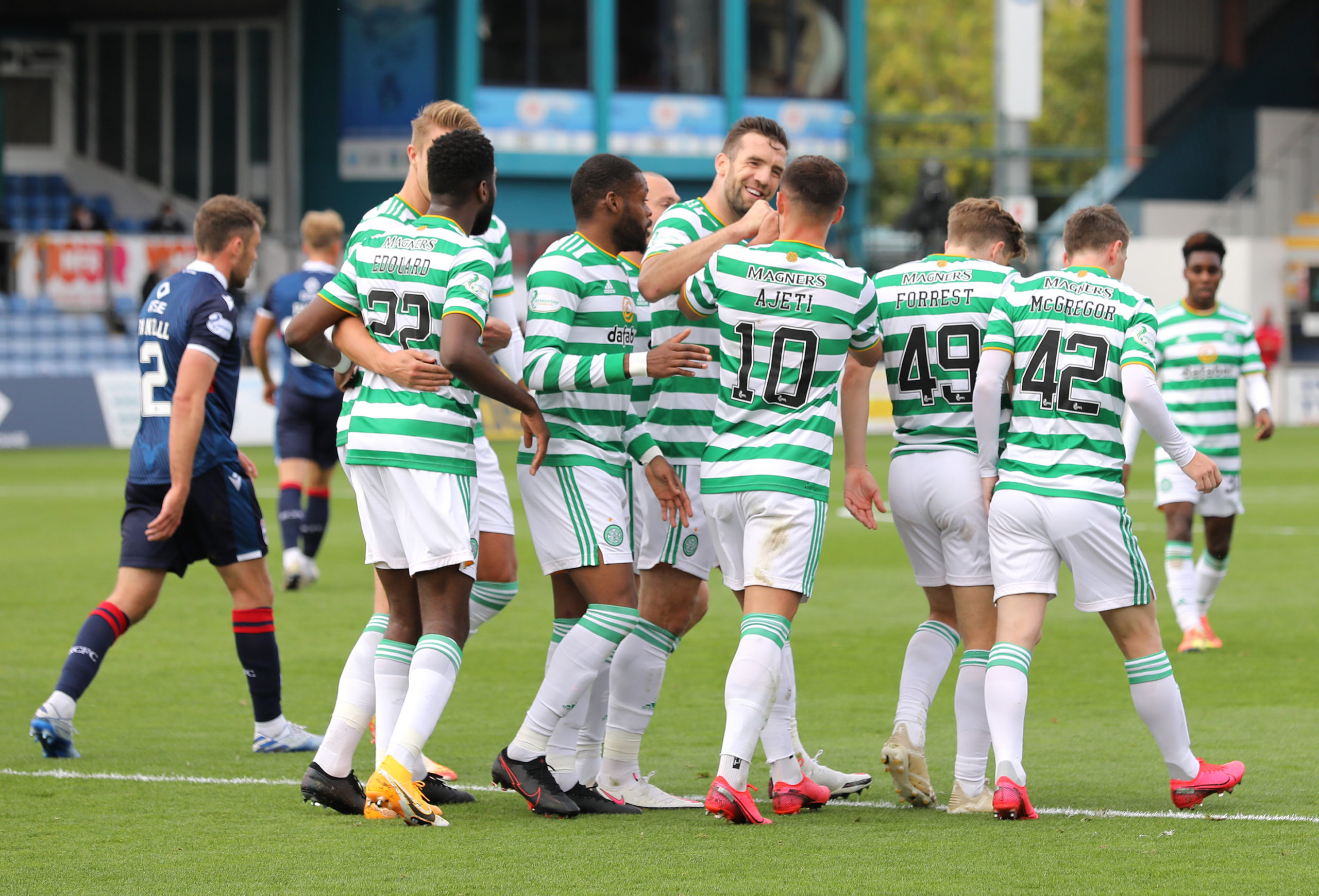Celtic celebrate a goal against Ross County