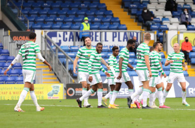 Celtic celebrate Shane Duffy's goal