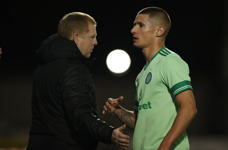 Patryk Klimala with Neil Lennon