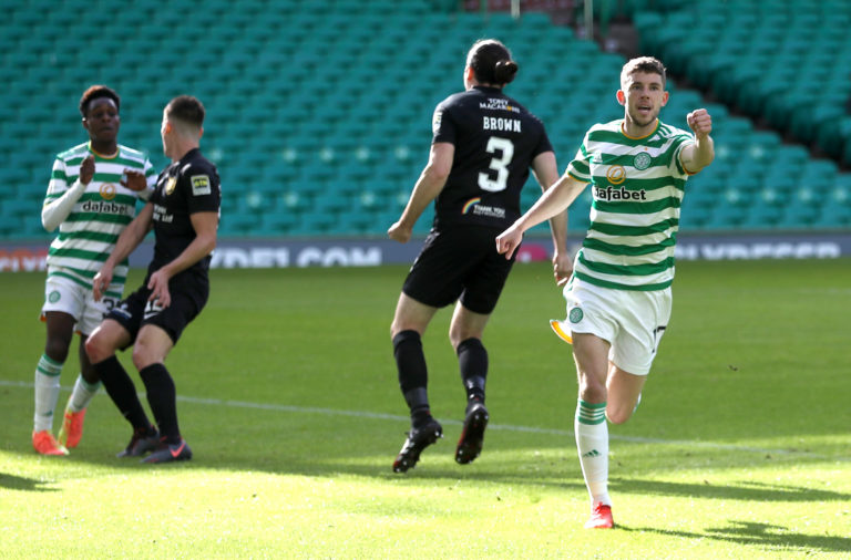Ryan Christie celebrates Celtic's second goal