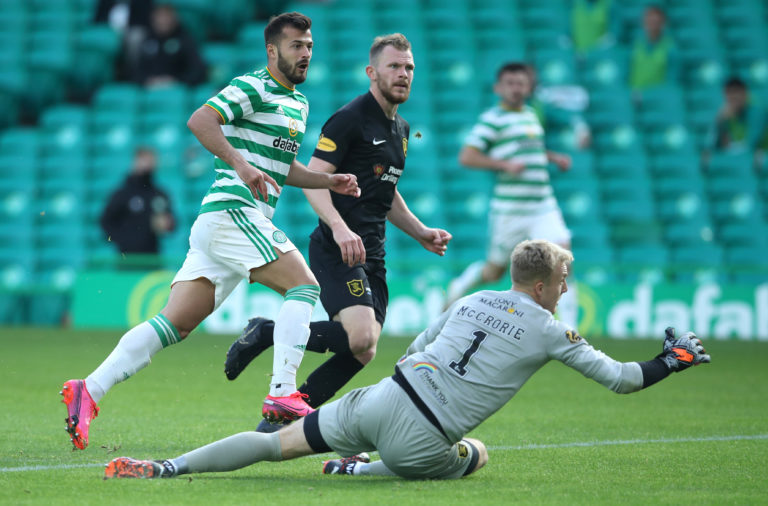 Albian Ajeti scores for Celtic against Livingston