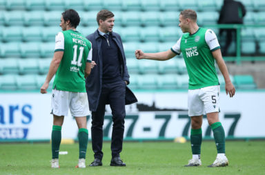 Hibernian defender Ryan Porteous and Rangers manager Steven Gerrard