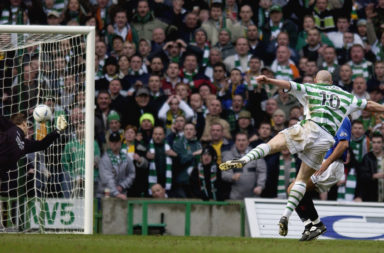 Hartson thumps in the strike against Rangers