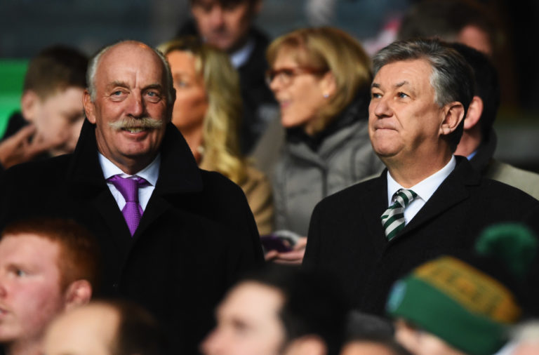 Dermot Desmond and Peter Lawwell pictured at a Celtic game