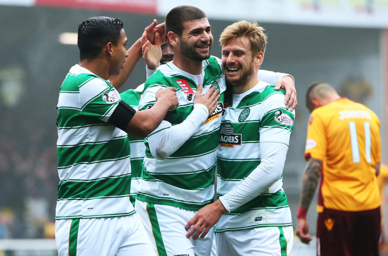Former Celtic man Nadir Ciftci celebrates