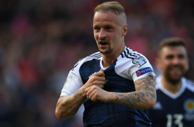 Leigh Griffiths celebrates scoring for Scotland vs England