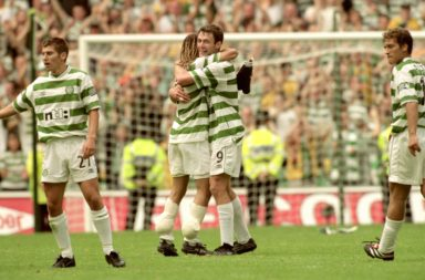 Henrik Larsson and Chris Sutton celebrate Celtic's 6-2 win over Rangers in 2000